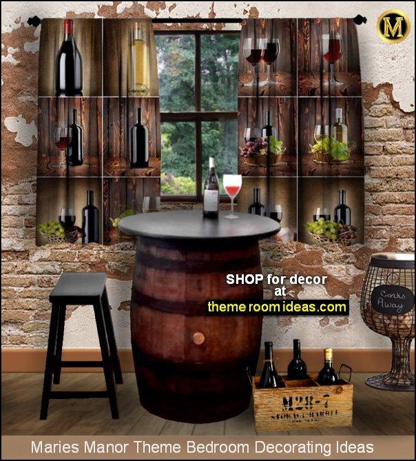 vineyard theme  grapes decor wine decor tuscan cellar  Whiskey Barrel - wine barrel Table