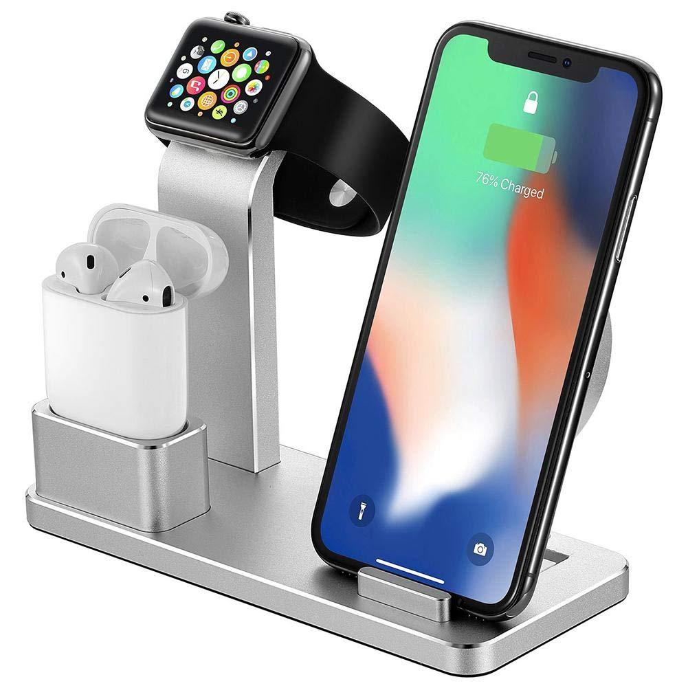 a3371c424d2 Multifunción 4 en 1: no solo funciona como soporte para Apple Watch,  AirPods, teléfono celular, tableta, sino también como cargador inalámbrico  y soporte de ...