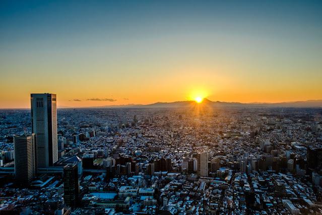 Sunset di Obsevatorium Gedung pemerintahan Tokyo