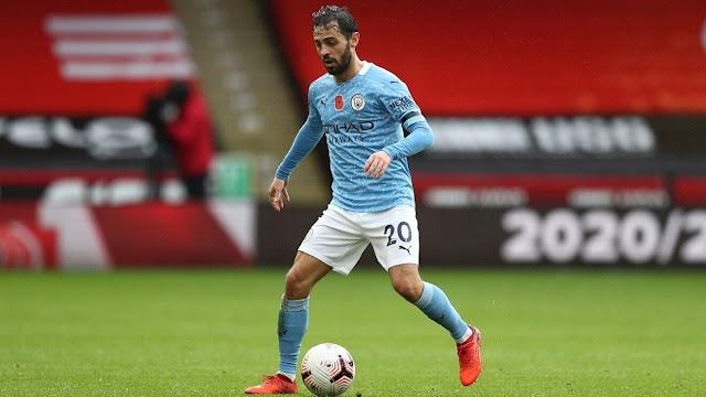 Man city midfielder Bernardo Silva