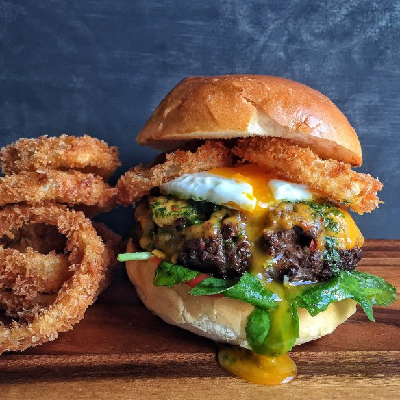 Crispy Onion Rings Burger #Recipe