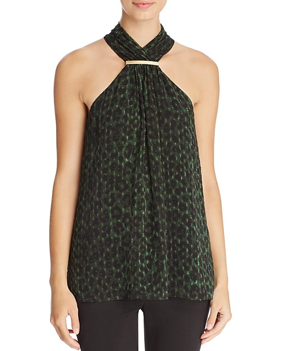 Michael Kors Green Leopard Print Top