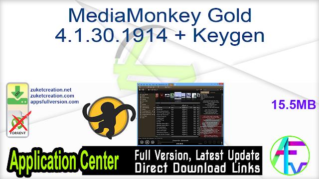 MediaMonkey Gold 4.1.30.1914 + Keygen