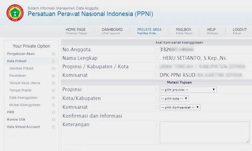 Cara Mutasi Pindah dan Merubah Keanggotaan DPK/ DPD Kota dan Kabupaten/ DPW Provinsi PPNI Online - www.herusetianto.com