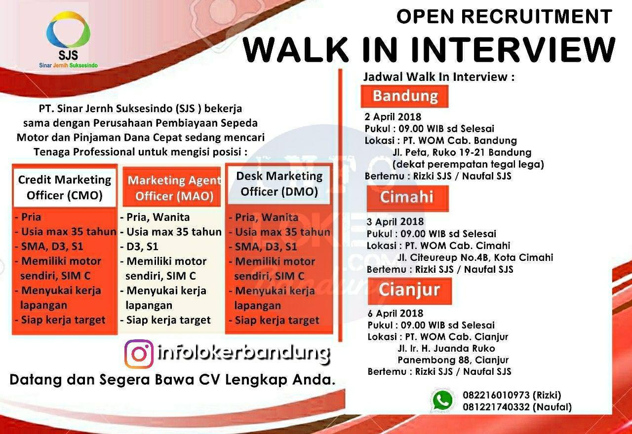 Walk In Interview PT Sinar Jernih Suksesindo April 2018