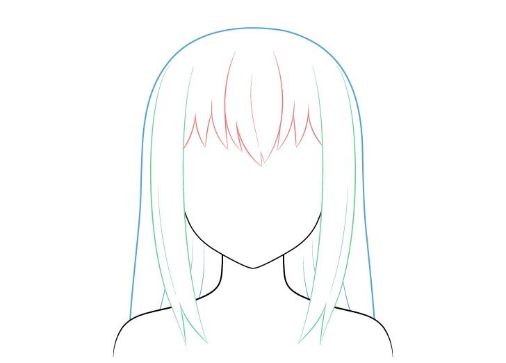 Bagian rambut anime rusak