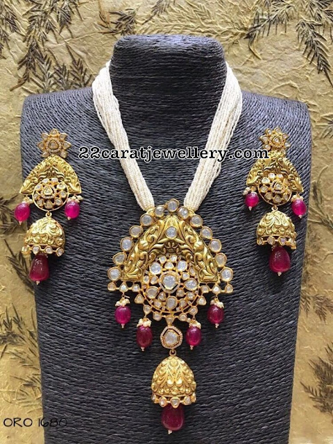 Antique Pachi Jhumka Pendant with Earrings