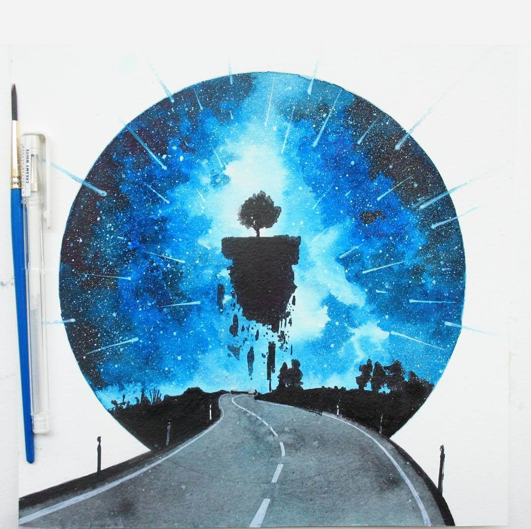 05-Different-Road-and-Journey-Prakersh-Blue-and-Round-Fantasy-Watercolor-Paintings-www-designstack-co