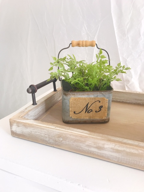 galvanized pail wooden handle faux green plant burlap
