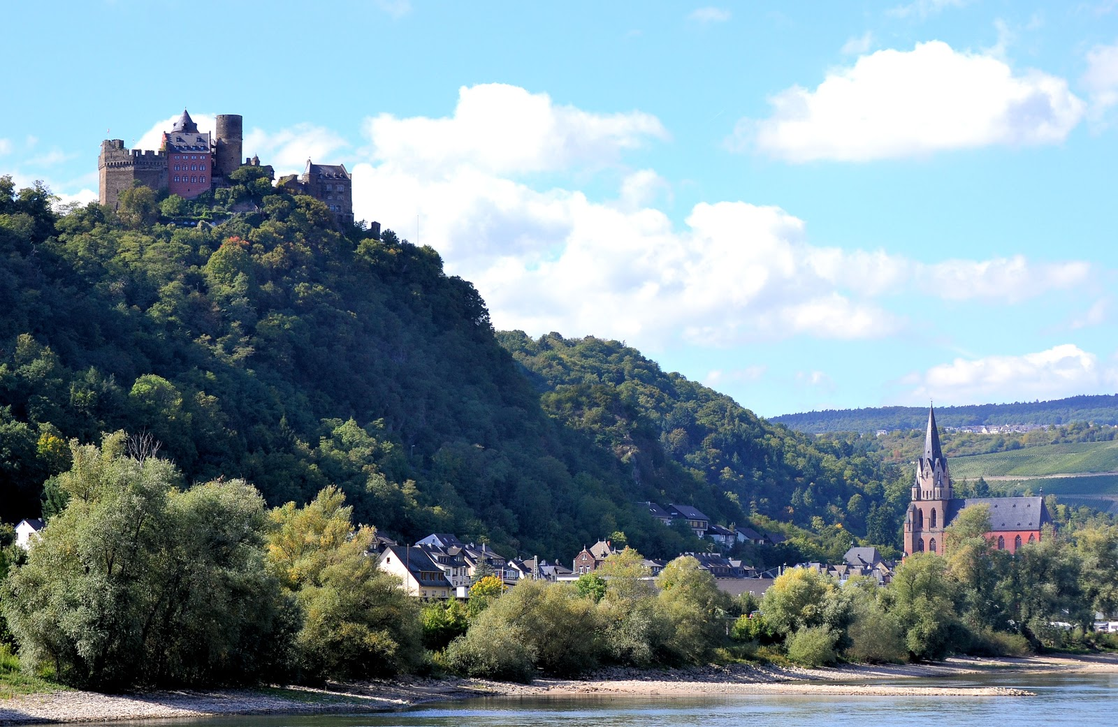 Schönburg Castle looms high above the town of Oberwesel, Germany.