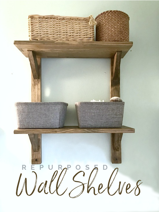 wall shelves with baskets and overlay