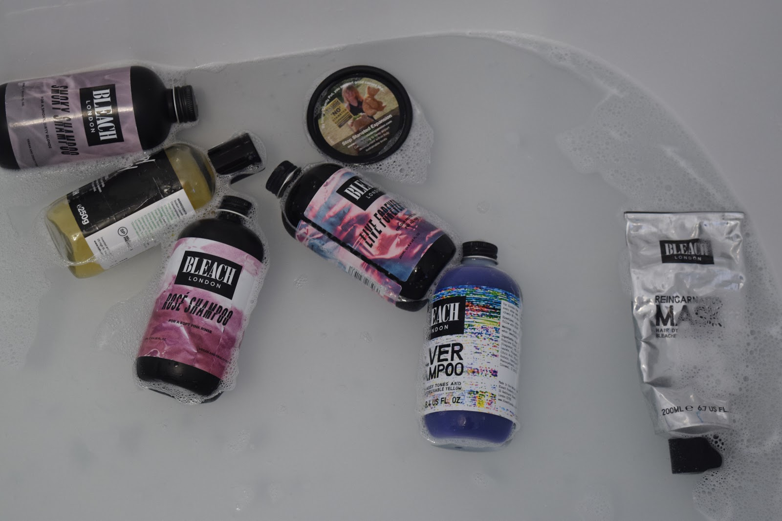 Bleach London and Lush products floating in the bath
