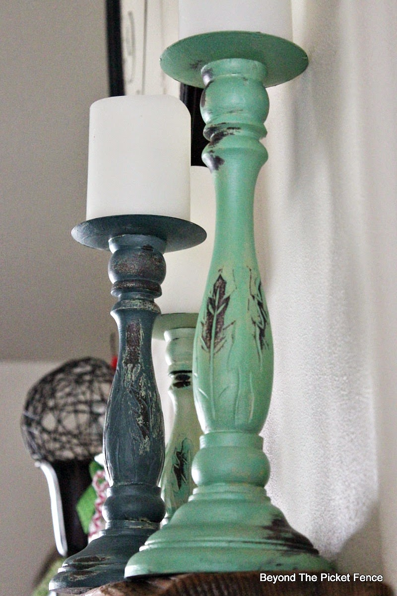 painted candlestick, shabby chic, decor, beachy, paint, mineral paint, mantle, Beyond The Picket Fence, http://bec4-beyondthepicketfence.blogspot.com/2015/02/project-challenge-2-with-thrift-store.html