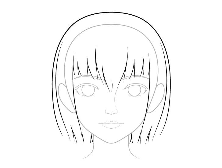 Realistic anime hair basic line drawing
