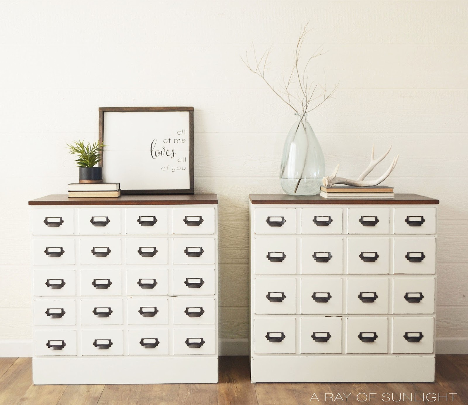 DIY Card Catalog Thrifted Bedroom Dresser Makeover by A Ray of Sunlight | How to transform two old dressers into card catalog or apothecary style large farmhouse nightstands. Painted in General Finishes with Java Gel Stain.
