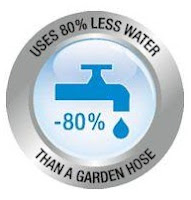 Uses less water than a garden hose