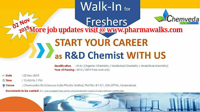 Chemveda Life sciences - Walk-in interview for AR&D / R&D Synthesis / R&D Chemists on 2nd November, 2019