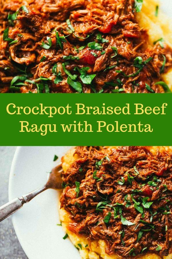 Crockpot Braised Beef Ragu with Polenta