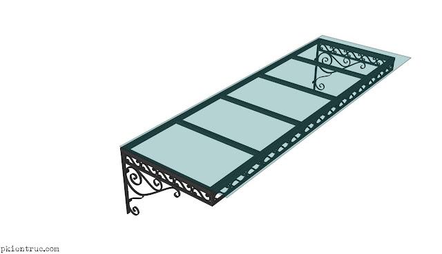 Phối cảnh Mái đón sắt trang trí hình chữ nhật