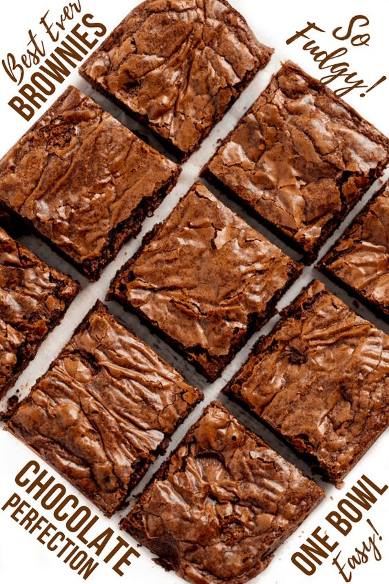 This really is the Best Brownie Recipe ever! These homemade brownies are the perfect chewy fudge squares of chocolate. You'll never buy a boxed brownie mix again!