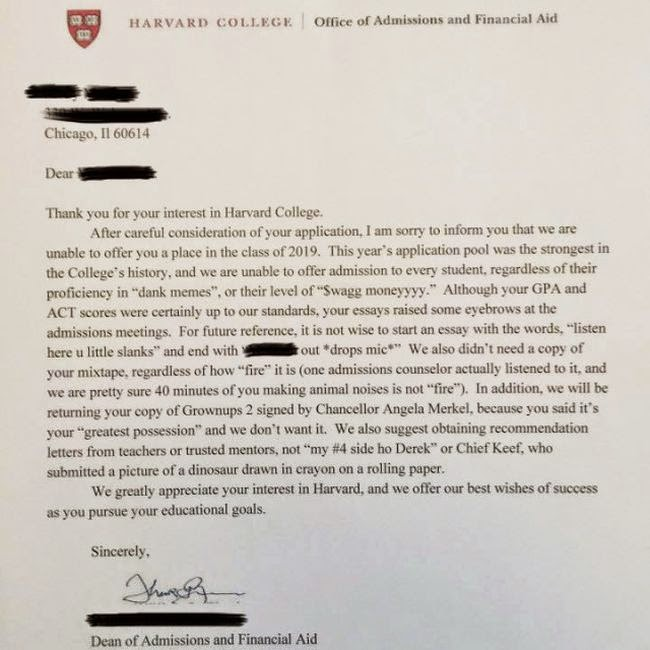 harvard rejection letter harvard sent out a rejection letter that is 1277