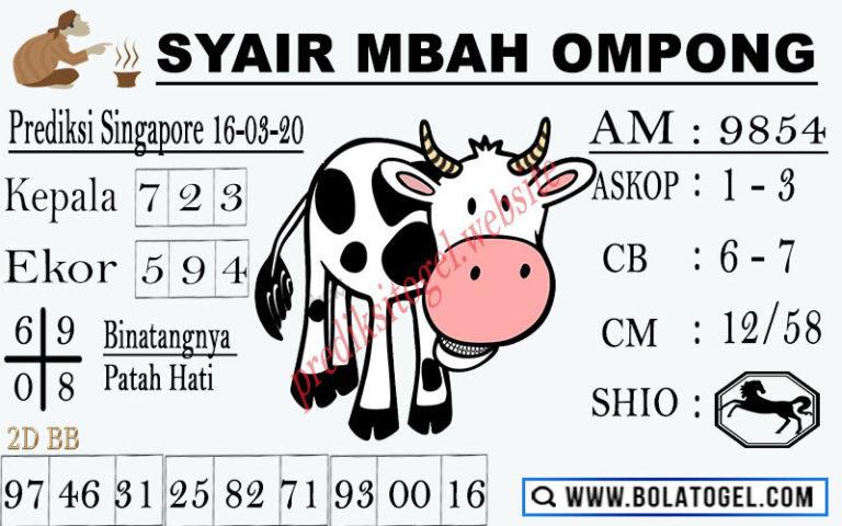 Prediksi Togel Singapore Senin 16 Maret 2020 - Syair Mbah Ompong