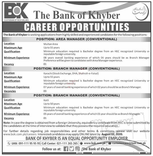 Bank of Khyber Karachi Jobs 2020
