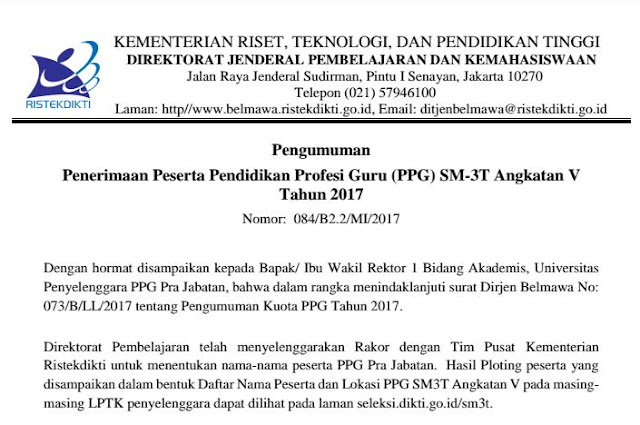 Penerimaan Peserta Pendidikan Profesi Guru (PPG) SM-3T Angkatan V Tahun 2017
