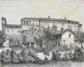 An etching depicting the Castello di Casei Gerola in medieval times