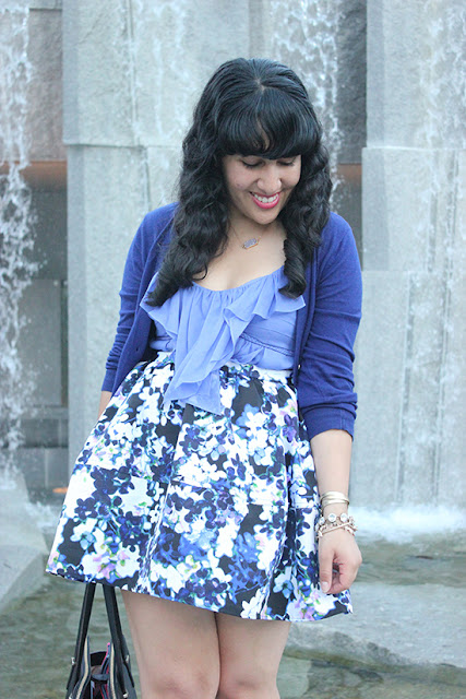 Blue Monochrome Floral Print Skirt Spring Outfit | Will Bake for Shoes