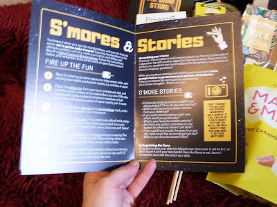 A close up of the S'mores and Stories page from the date night booklet