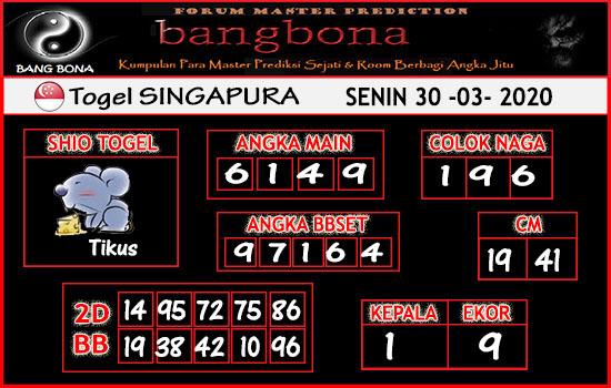 Bocoran Togel Singapura Senin 30 Maret 2020 - Prediksi Bang Bona SGP