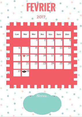 Calendrier 2017 gratuit à imprimer mois de février