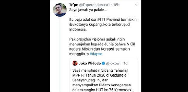 Berbaju Adat NTT Di Sidang Tahunan MPR, Politisi Demokrat: Jokowi Tunjukan Ke Dunia NKRI Negara Miskin Dan Korup
