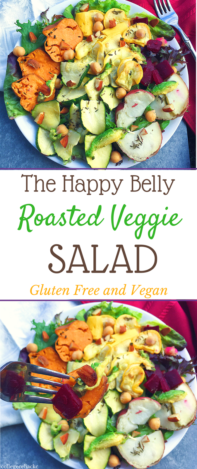 The Happy Belly Roasted Veggie Salad (Gluten Free, Vegan)