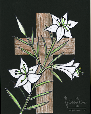 learn how to draw Easter lilies on the cross