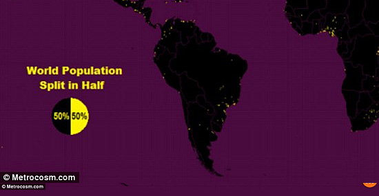 World population Map by Metrocosm and NASA - South America detail