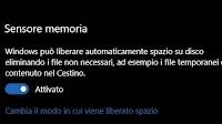 """Tieni spazio libero in Windows 10 attivando """"Sensore Memoria"""""""