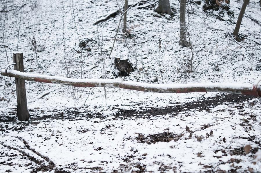 Blog + Fotografie by it's me! - Draussen - Frau Frieda sucht Schnee, verschneiter Schlagbaum