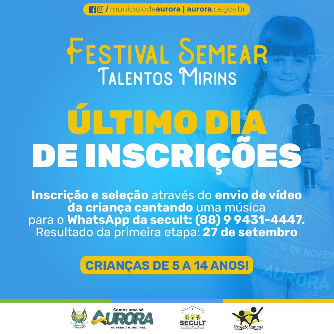 Inscrições para o festival SEMEAR – Talentos Mirins encerram-se hoje (17)