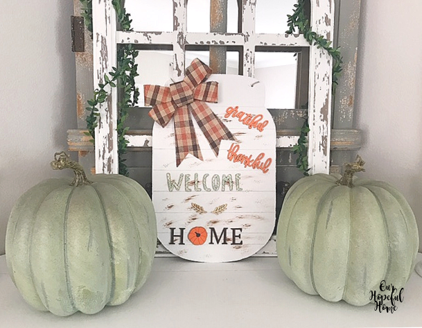 faux blue pumpkins fall welcome home sign