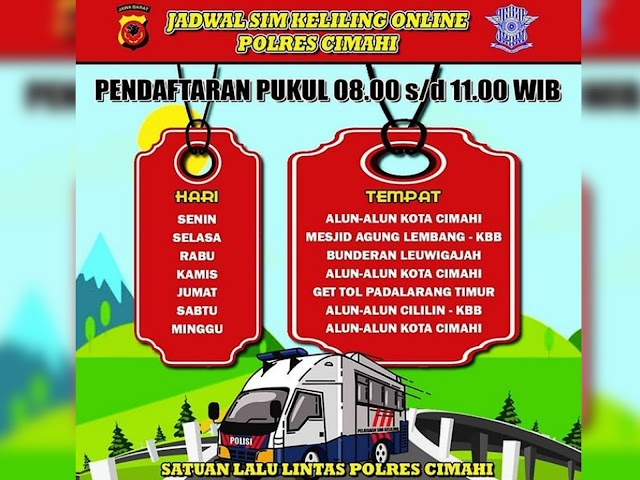 Jadwal SIM Keliling Polres Cimahi Bulan Januari 2021