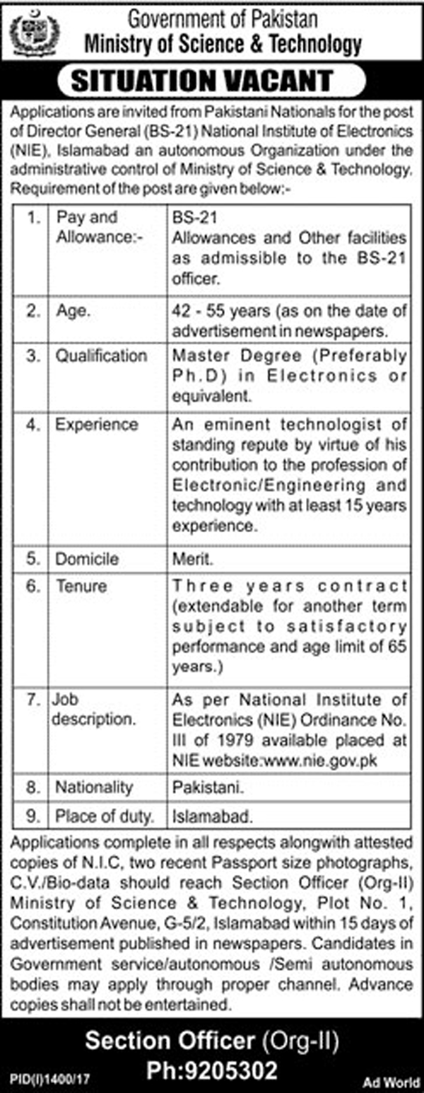 Jobs In Ministry of Science and Technology Islamabad Sep 2017