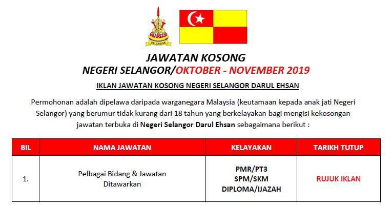 Jawatan Kosong Negeri Selangor Darul Ehsan Kelayakan Pmr Spm Diploma Ejawatankini Com