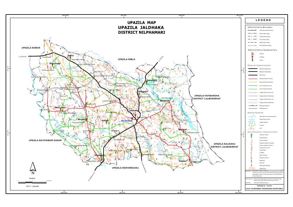 Jaldhaka Upazila Map Nilphamari District Bangladesh