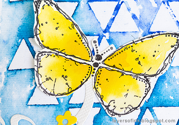 Layers of ink - Stencil and Scribble Sticks Background Tutorial by Anna-Karin Evaldsson. Watercolor and stamped Brimstone butterfly.
