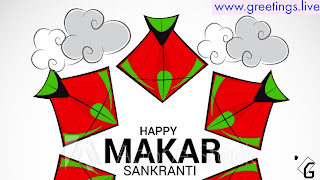 Red green combinations Kites Happy Makara Sankranti wishes
