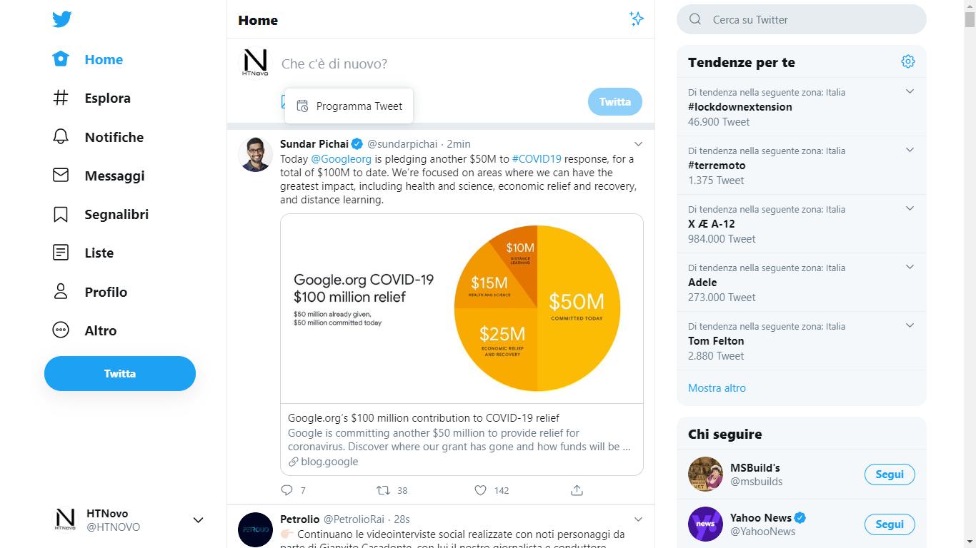 Twitter consente di programmare i Tweet