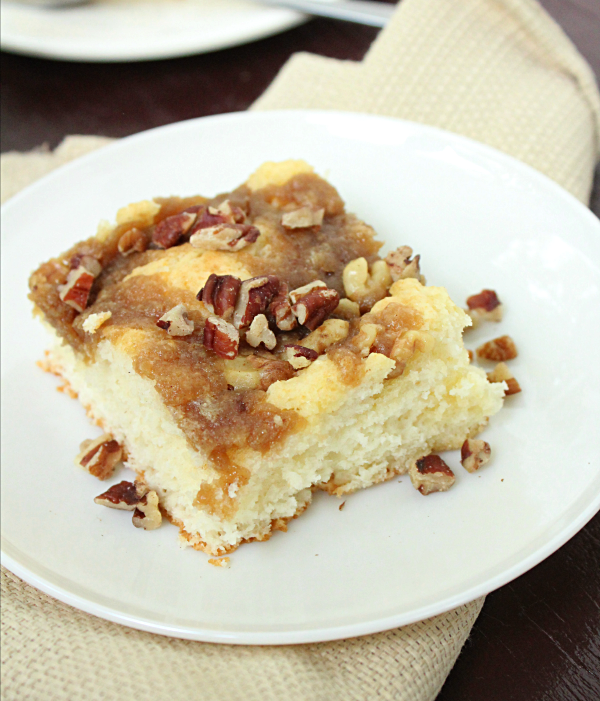 Cake Mix Cinnamon Walnut Coffee Cake from Table for Seven: A quick and delicious coffee cake that starts with a cake mix!