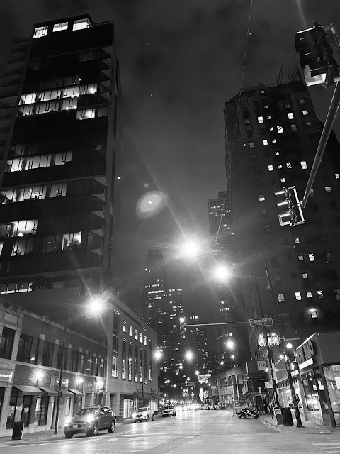 Old town Chicago at night